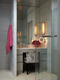lighted makeup mirrors bathroom midcentury with aggregate floor floral upholstered vanity stool flush cabinets glass shower bathroom vanity mirror pendant lights glass