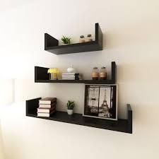 <b>3 Black MDF U-Shaped</b> Floating Wall Display Shelves Book/DVD ...