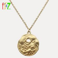 F.J4Z <b>Hot Coins</b> Necklaces Vintage Matted Gold Color Round ...