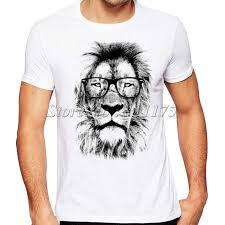 <b>2019</b> Newest Fashion The King Lion Wear Glasses Printed T Shirt ...
