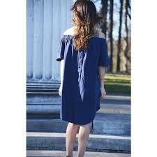 Anse Cochon - Exclusive Women's <b>Off-the-shoulder Navy</b> Midi Dress