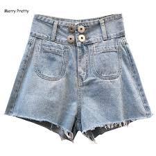 <b>Merry Pretty</b> 2019 demin shorts <b>women</b> front button pocket summer ...