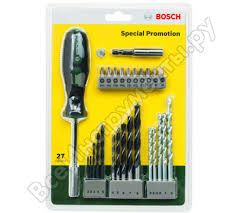 <b>Набор сверл и насадок</b>-бит 27 предметов Bosch 2607017201 ...
