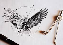 Black-half-<b>geometric eagle</b> in circle tattoo design | Круглые ...