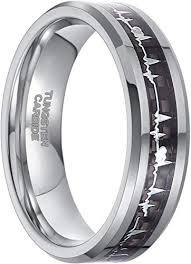 Frank S.Burton <b>6mm</b> Tungsten Heartbeat Rings for Men Women ...