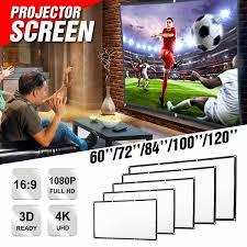 60 72 84 <b>100</b> 120 Inch <b>Portable Foldable Projector</b> Screen Wall ...