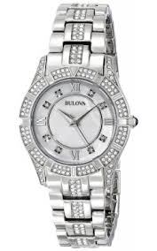buy bulova watches shipping on bulova watches from watchco bulova womens stainless steel swarovski crystal accented pearl dial silver watch 96l116