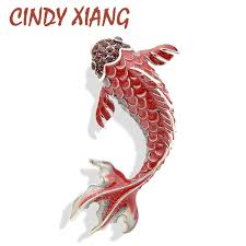 <b>CINDY XIANG 3 Colors</b> Available Red Enamel Fish Brooches for ...