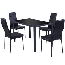 4 chair kitchen table: giantex  piece kitchen dining set glass metal table and  chairs breakfast furniture