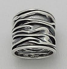 22mm Wide <b>Solid</b> Sterling Silver CRINKLED Cigar Band Ring size 9 ...