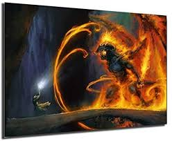 Gandalf Vs The Balrog Poster Painting On Canvas ... - Amazon.com