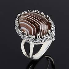 <b>Кольцо агат серый серебро</b> 925 пр размер 17