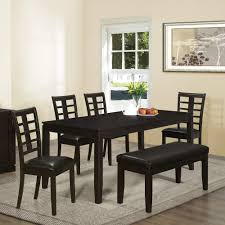 black and white dining table set: contemporary asian inspired dining set with bench is a good size being able to accommodate