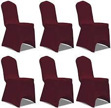 Xingshuoonline Home Decor <b>Chair</b> Cover Stretch <b>Burgundy 6 pcs</b> ...