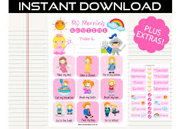 princess chart printable morning routine chart digital princess by ernie bird