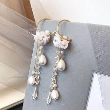 Fashion <b>2019 New</b> Long <b>Tassels Earrings</b> Fashion Women Pearl ...