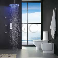 thermostatic brand bathroom: thermostat bathroom shower faucet set  inch led  colors thermostatic sensitive rainfall round shower head