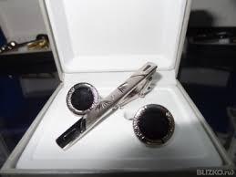 Комплект из заколки для галстука и <b>запонок</b>, с черным камнем от ...