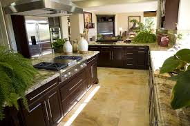 shaped kitchen shutterstock l shaped galley kitchen design with dark wood cabinets tile flooring n