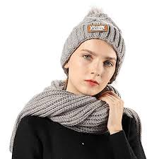 Women <b>Girl</b> Knit Hat Scarf Set Beanie <b>Winter Outdoor Ski</b> Sports ...