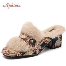 Aphixta <b>Shoes Woman</b> Platform <b>Slippers For Women</b> Real Animal ...