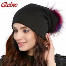 COKK Winter Hat Female Pompom Fur Hats For Women Ladies Knit ...