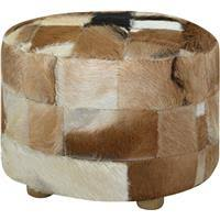<b>Pouffe</b> Genuine Leather Round - Rewardia