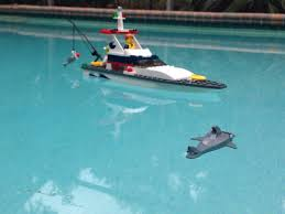 gave my son a lego boat for christmas the accompanying shark gave my son a lego boat for christmas the accompanying shark floats just under the water so only the fin sticks out good job lego