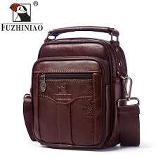 FUZHINIAO Genuine <b>Cow Leather</b> Messenger <b>Bag Men Handbag</b> ...