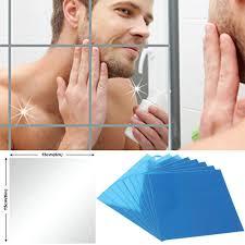 9/<b>16 Pcs</b> Square <b>Mirror</b> Tile Wall Stickers Decal Mosaic Home ...