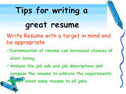 effective resume writing      tips for writing a great resume