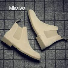 <b>Misalwa Chelsea</b> Men <b>Boots Ankle</b> Low Cow <b>Suede</b> Simple Pointed ...