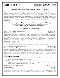 construction worker resume sample com construction project management specialist manager resume sample