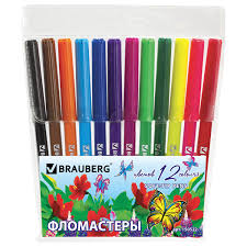 "Купить <b>Фломастеры BRAUBERG</b> ""<b>Wonderful butterfly</b>"", 12 цветов ..."