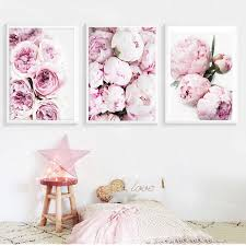 <b>Nordic Minimalist Posters and</b> Prints Pink Peony Flower Kids Room ...