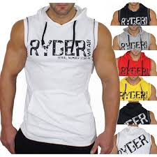 <b>Zogaa Mens</b> Hooded Sleeveless T shirts Muscle Bodybuilding ...