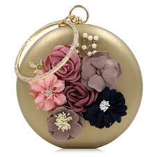 Women <b>Luxury</b> Beaded Pearl Flower <b>Round Bag</b>, Evening Dinner ...