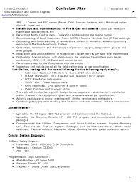 c v    instrumentation and control engineer