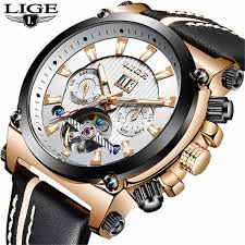 <b>2019</b> New <b>LIGE Fashion</b> Leather Automatic Mechanical Watch Men ...