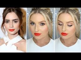 Lily Collins Inspired <b>Makeup Bright Eyes</b> & Glossy Orange Lips ...