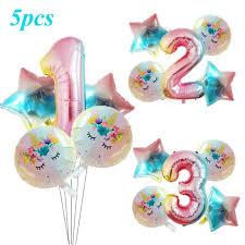5pcs Единорог номер <b>градации</b> воздушные шары установить ...