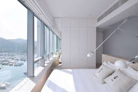 exquisite bedroom with view in boathouse home office applied floor to ceiling window and long wall bedroom home office view