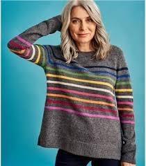 <b>Rainbow Stripe</b> | <b>Womens</b> Pure Merino <b>Stripe</b> Jumper | WoolOvers UK
