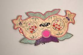 Cat-shaped Head <b>Ornament</b> Color Embroidered with <b>Flower</b> and ...