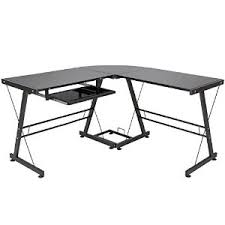 best choice products l shape computer desk pc glass laptop table workstation corner home office black buy shape home office