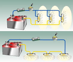 12 volt basics for boaters boats com figure 2 a parallel circuit top and a series circuit bottom