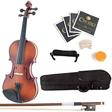 Mendini <b>4/4</b> MV300 <b>Solid</b> Wood Satin Antique Violin with Hard Case ...