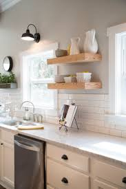 kitchen colors images: do like the subway tiles quotgooseneck lamp white kitchen cabinets white subway tile and walls painted sherwin williams mindful gray open shelvingquot