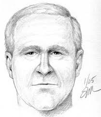 """From Yevgeniy Fiks, """"Untitled (A Police Sketch)"""" (2004). A nation's construction of an enemy """"other"""" often serves less to define the latter than the ... - Fiks_Bush"""