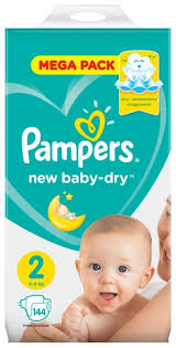 <b>Pampers подгузники New</b> Baby Dry 2 (4-8 кг) 144 шт. — купить по ...